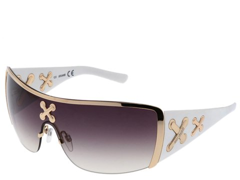 Just Cavalli JC141S Shiny Rose Gold/White/Shiny Rose Gold Crosses/Gradient Brown Ma - Eyewear