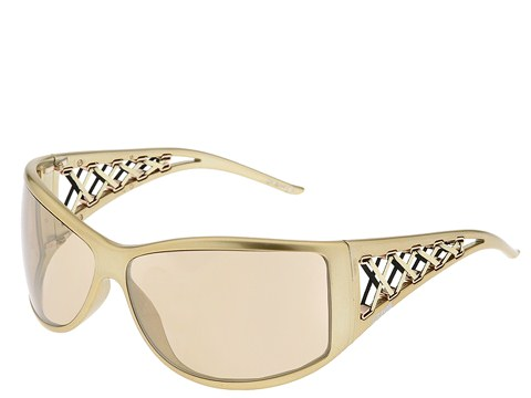 Just Cavalli JC142S Pearl Gold/Gold Leather/Royal Flash Bronze Mirror Lens - Eyewear
