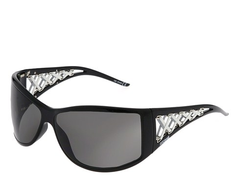 Just Cavalli JC142S Shiny Black/White Leather/Smoke Lens - Eyewear