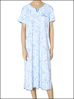 Karen Neuburger - Espirando Short Sleeve Ballet Gown (Floral in French Blue) - Apparel