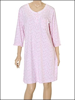 Karen Neuburger - Adagio 3/4 Sleeve Shirt (Ditsy in Pink) - Apparel