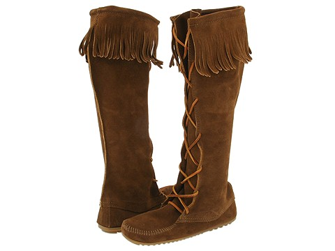 Minnetonka - Front Lace Hardsole Knee Hi Boot (Dusty Brown Suede) - Footwear