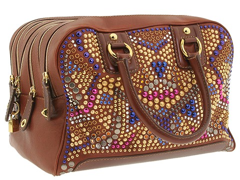 D&G Dolce & Gabbana Large Multi Zipper Jeweled Handbag Cognac - Bags and Luggage