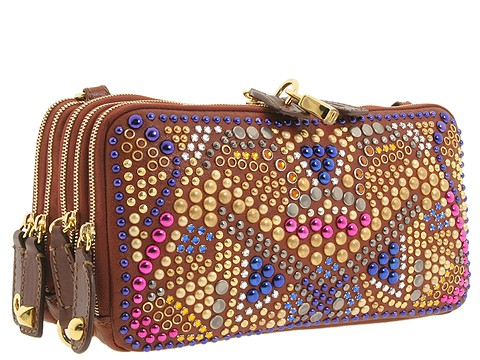D&G Dolce & Gabbana Multi-Zipper Jeweled Messenger Bag Cognac - Bags and Luggage