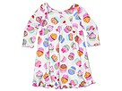 Sara's Prints Kids - 3 Pleat Gown with Ribbons (Toddler/Little Kids/Big Kids) (Cupcakes) - Apparel