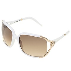 Roberto Cavalli - RC370S (White/Gradient Brown, Silver Flash Lens) - Eyewear