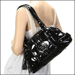 Franco Sarto - Morandi Patent Satchel (Black) - Bags and Luggage