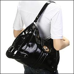 Franco Sarto - Morandi Patent Large Hobo (Black) - Bags and Luggage