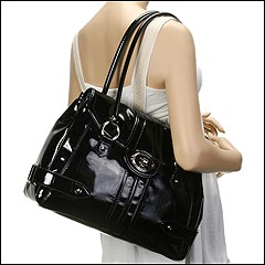 Franco Sarto - Morandi Patent Flap Tote (Black) - Bags and Luggage