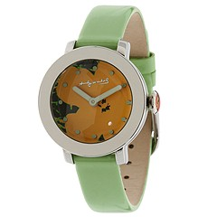 Andy Warhol 15 Watch Collection - ANDY090 (Yellow Flower Dial/Green Leather Strap) - Jewelry