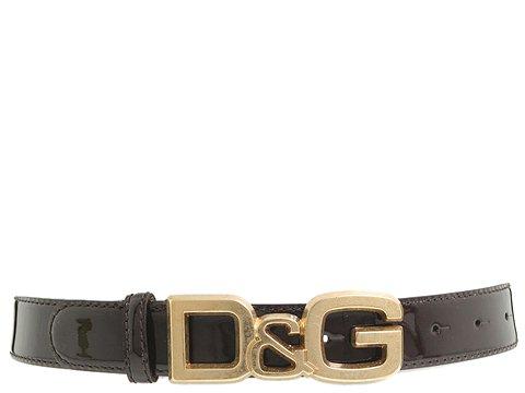 D&G Dolce & Gabbana - DC0694E1017/Flat Strap Belt (Dark Brown) - Accessories