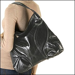Francesco Biasia - Marie Large Top Zip Hobo (Black) - Bags and Luggage