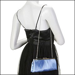 Jessica McClintock - Large East/West Satin Clutch (Blue) - Bags and Luggage