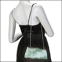 Jessica McClintock - Large East/West Satin Clutch (Sage) - Bags and Luggage
