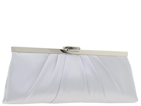 Jessica McClintock - Large East/West Satin Clutch (Silver) - Bags and Luggage
