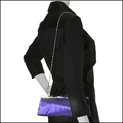 Jessica McClintock - Large East/West Satin Clutch (Purple) - Bags and Luggage