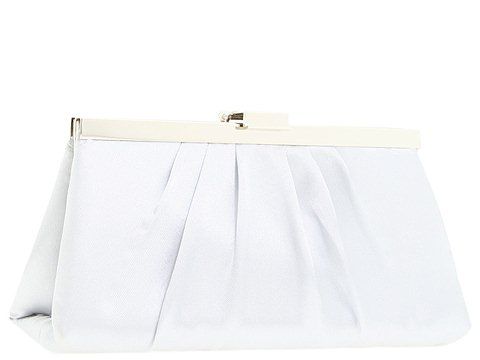 Jessica McClintock - Small East/West Satin Clutch (Silver) - Bags and Luggage