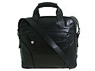 Perlina Handbags - North-South Leather Computer Tote (Black) - Bags and Luggage