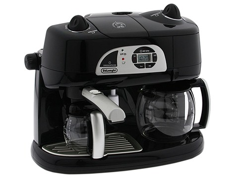 DeLonghi - Combination Espresso/Coffee Machine With Programmable Timer And Instant Froth Dispenser (Black) - Home