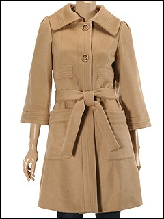 Just Cavalli - Wool Coat With 3/4 Wide Sleeve (Camel) - Apparel