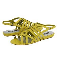 DKNY Gally (Chartreuse Glossy Nappa ) - Wedges Dress Sandals :  shoes sandals flats design