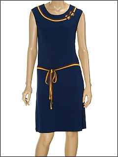 Moschino - Striped Tie UP Dress (Navy) - Apparel