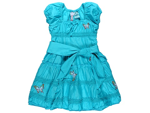 GUESS Kids' - Tiered Dress W/ Embroidery (Toddler) (Turquoise) - Apparel