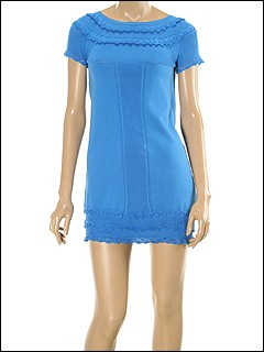 Moschino - Knit Short Sleeve Sweater Dress With Ruffled Hem And Neckline (Blue) - Apparel