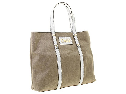 D&G Dolce & Gabbana - Estelle Linen Tote (Beige/White) - Bags and Luggage