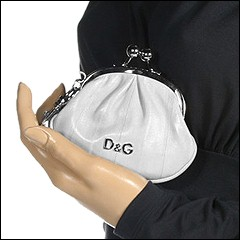 D&G Dolce & Gabbana - Precious Eel Coin Purse (Bone) - Bags and Luggage