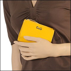 D&G Dolce & Gabbana - Bi Fold Wallet With 2 Side Coin Zip (Yellow) - Bags and Luggage
