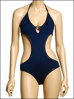 D&G Dolce & Gabbana - Monokini W/ Metal Ring Gold Lurex Piping (Navy) - Apparel