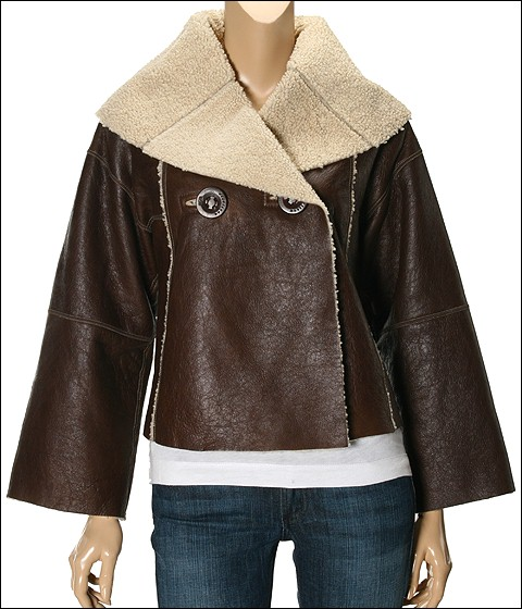 UGG - Cropped Shearling Jacket (Chocolate) - Apparel