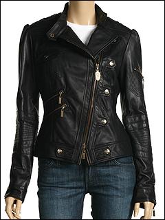 Just Cavalli - Stud Leather Jacket (Black) - Apparel