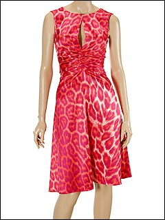 Just Cavalli - Leopard Satin Dress (Red/Pink/Orange Leopard Print) - Apparel