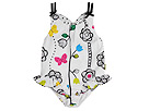 le top kids - Butterfly Wishes- Tank Swimsuit W/ Hip Ruffle (Infant/Toddler) (Black/White/Pink/Lime/Yellow) - Apparel