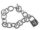 King Baby Studio - Large Link Bracelet w/Crowned Heart Locket Drop (Sterling Silver) - Jewelry