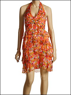 Laundry by Shelli Segal Eucalyptus Leaves Tiered Halter Dress at 6pm.com