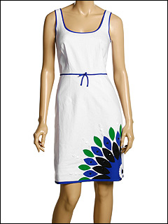 Laundry by Shelli Segal Linen Dress w/ Appliqué Embroidery at 6pm.com