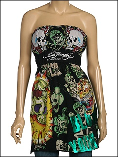 Ed Hardy Exploding Skull Foiled Multiprint Strapless Tunic at 6pm.com