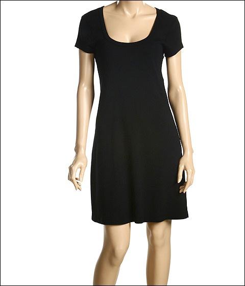Three Dots - Cotton Knits Cap Sleeve Scoop Neck Dress