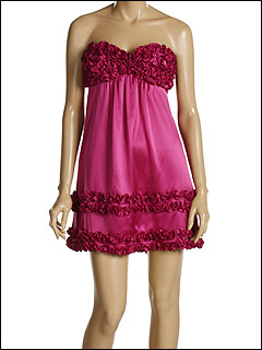 Betsey Johnson Evening Charmeuse Ruffle Trim Mini Dress  at 6pm.com