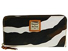 Dooney & Bourke - Zebra Large Zip Around Wallet (Mustard Trim) - Bags and Luggage