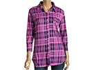 Allen Allen - Plaid Burnout 3/4 Sleeve Button Front Shirt (Smashing) - Apparel