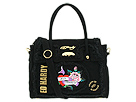Ed Hardy - Frayed Patch Freydie Satchel (Black) - Bags and Luggage