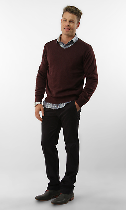 V Neck Sweater Over Button Down Shirt 69