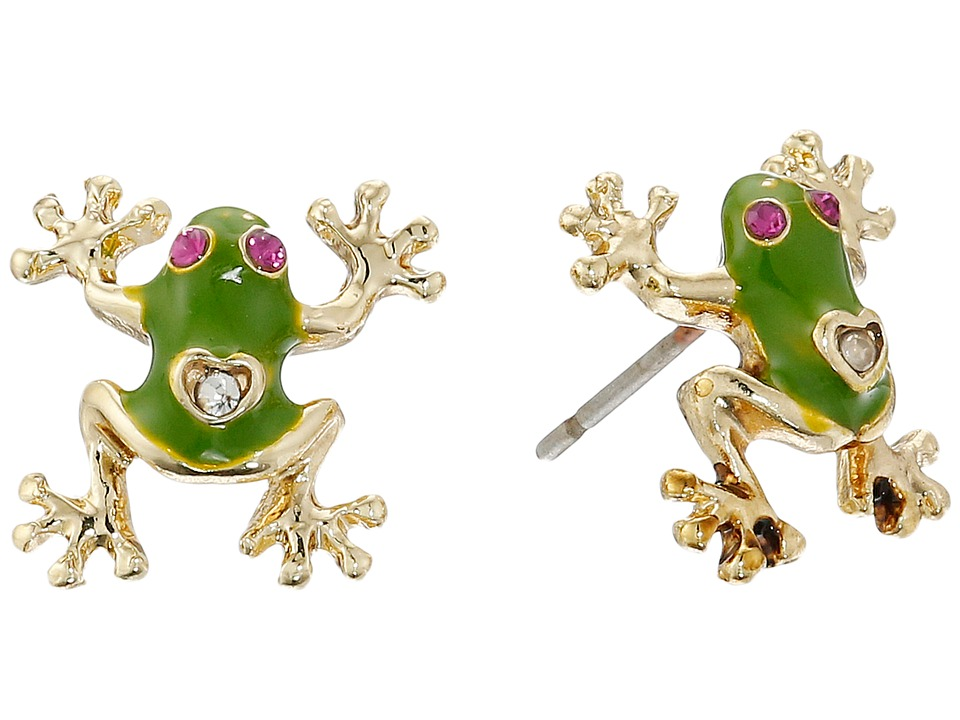 Betsey Johnson - Jungle Book Frog Stud Earrings (Green Multi) Earring