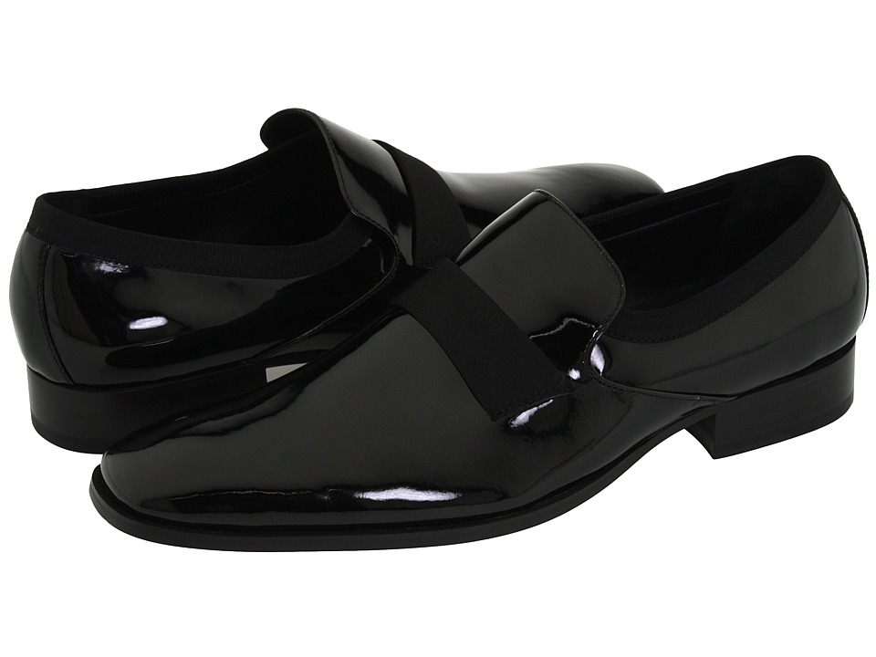 Calvin Klein - Guilford (Black Patent/Grosgrain) Mens Slip-on Dress Shoes