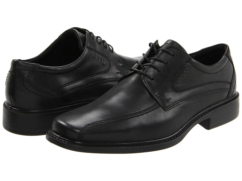 ECCO - New Jersey Tie (Black Santiago Full-Grain Leather) Mens Lace-up Bicycle Toe Shoes