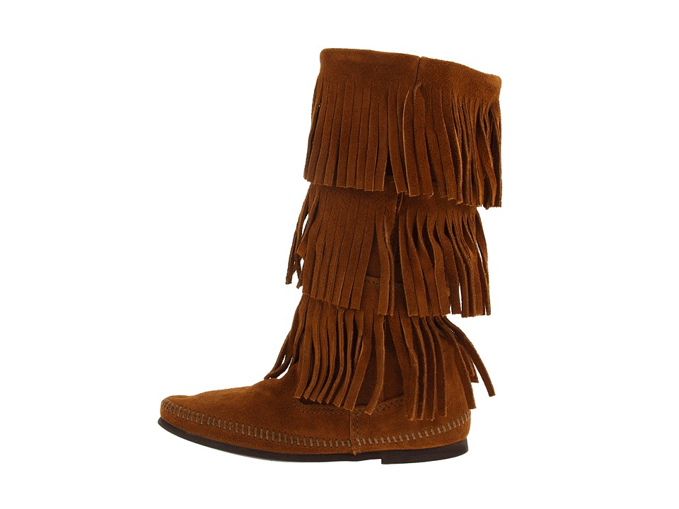 Minnetonka Calf Hi 3-Layer Fringe Boot - Zappos.com Free Shipping ...